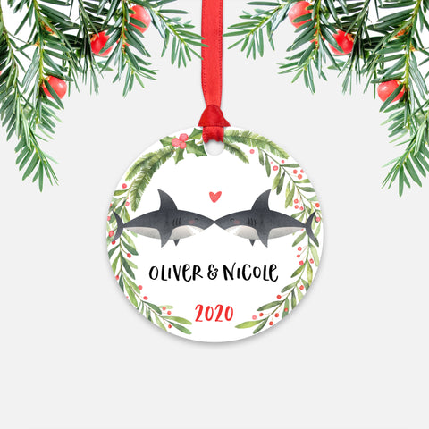 Shark Animal Couple Personalized Christmas Ornament for Wedding Engagement - Round Aluminum