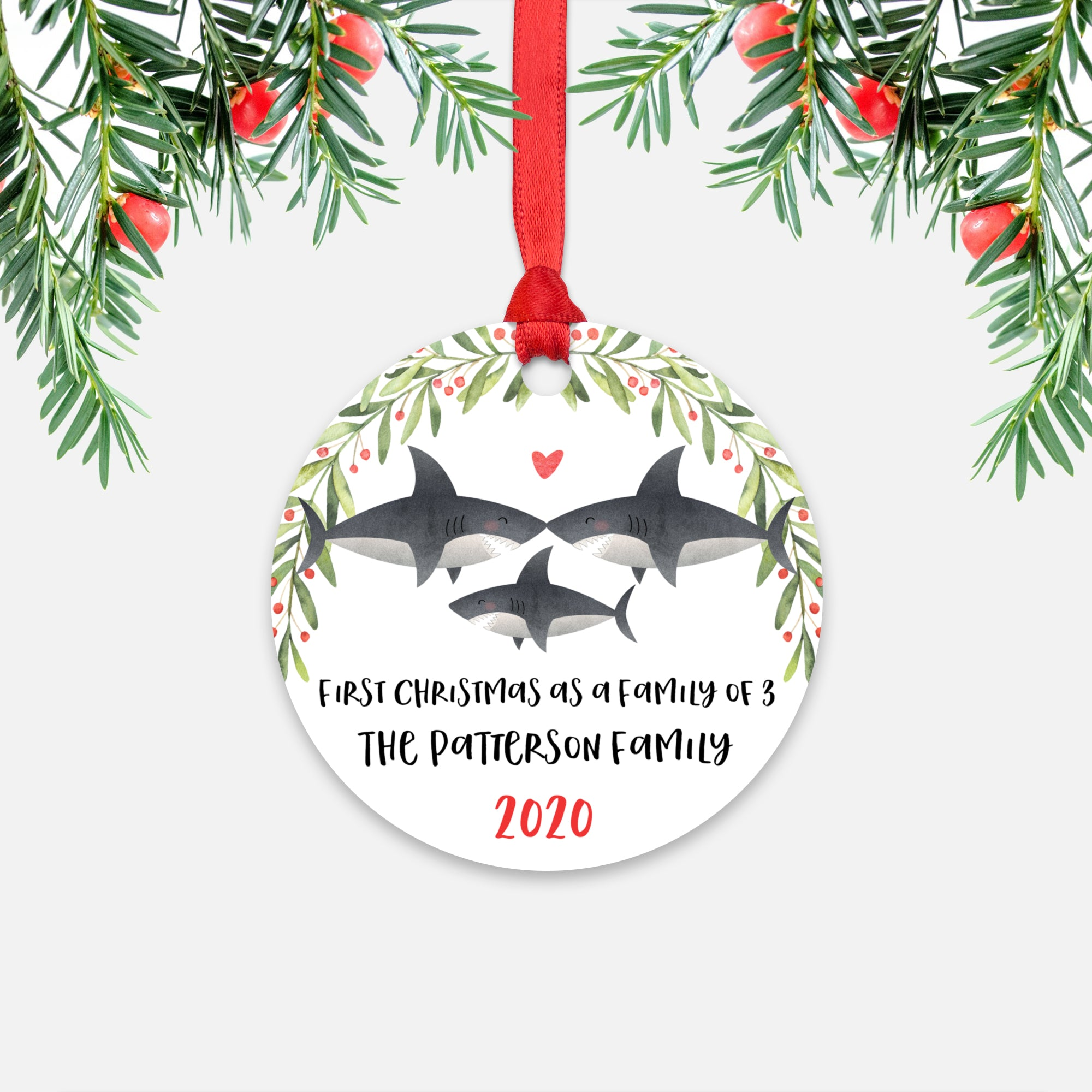 Shark Animal First Christmas as a Family of 3 Personalized Ornament for New Baby Girl Boy - Round Aluminum - Red ribbon