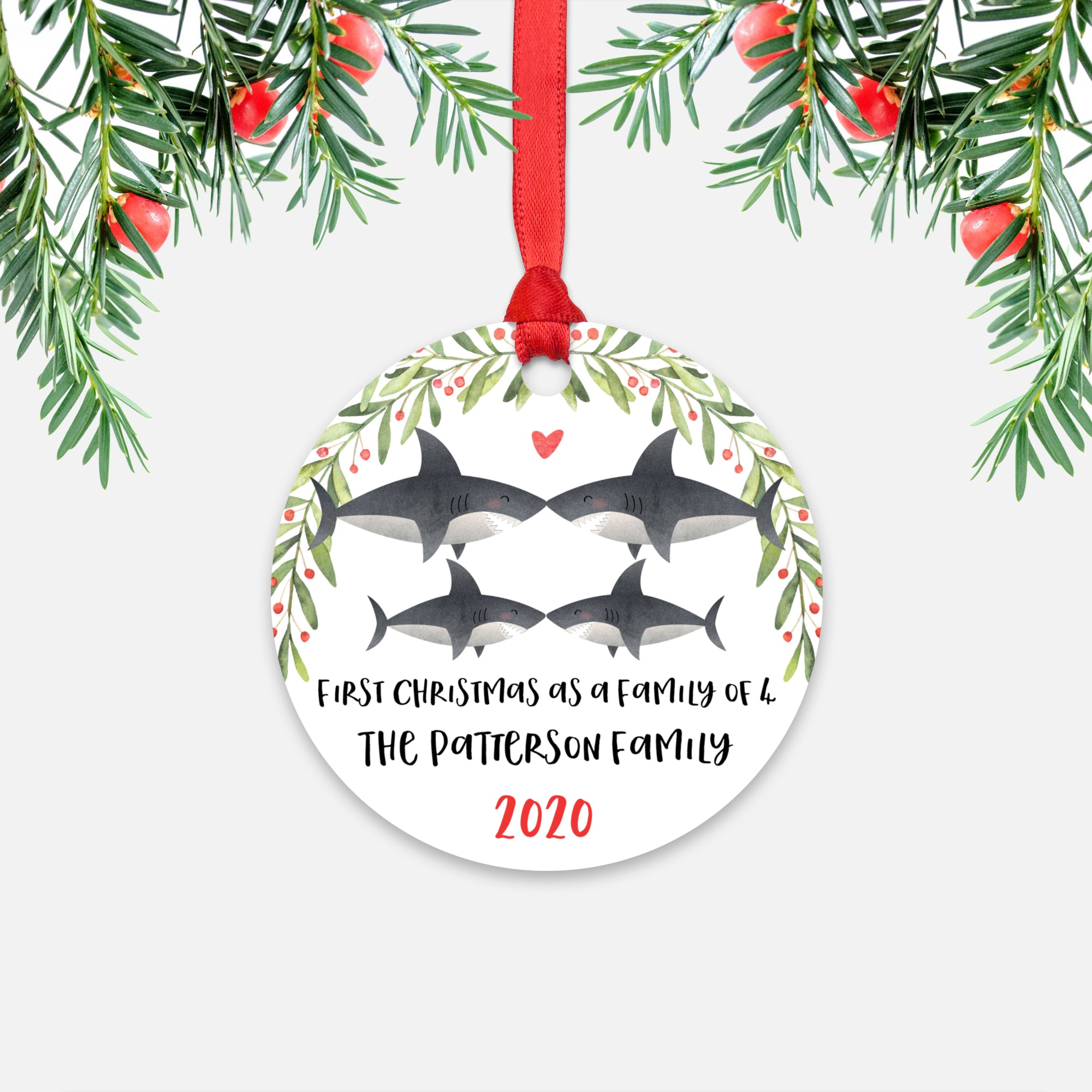 Shark Animal First Christmas as a Family of 4 Personalized Ornament for New Baby Girl Boy - Round Aluminum - Red ribbon