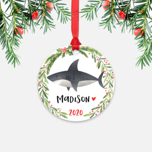 Shark Sea Ocean Animal Personalized Kids Name Christmas Ornament for Boy or Girl - Round Aluminum - Red ribbon