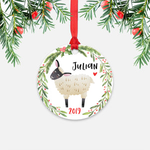 Sheep Lamb Farm Animal Personalized Kids Name Christmas Ornament for Boy or Girl - Round Aluminum - Red ribbon