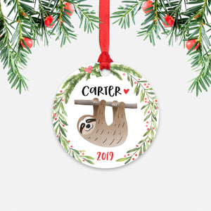 Sloth Tropical Animal Personalized Kids Name Christmas Ornament for Boy or Girl - Round Aluminum - Red ribbon