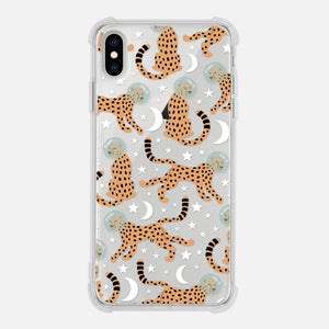 Space Cheetah Pattern Moon Stars Astronaut Celestial Funny Trendy Clear iPhone Case for iPhone 11 Pro Max 10 X XR XS 8 7 6 6s Plus Transparent Phone Cover - By Happy Cat Prints