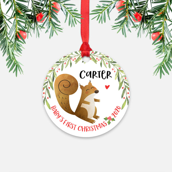 Squirrel Woodland Animal Personalized Baby's First Christmas Ornament for Boy or Girl - Round Aluminum - Red ribbon
