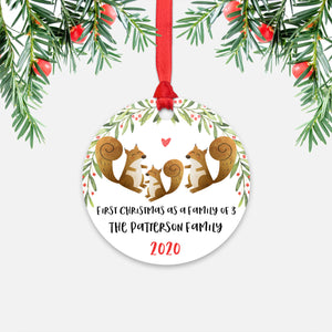 Squirrel Animal First Christmas as a Family of 3 Personalized Ornament for New Baby Girl Boy - Round Aluminum - Red ribbon