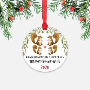 Squirrel Animal First Christmas as a Family of 4 Personalized Ornament for New Baby Girl Boy - Round Aluminum - Red ribbon