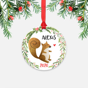 Squirrel Woodland Animal Personalized Kids Name Christmas Ornament for Boy or Girl - Round Aluminum - Red ribbon