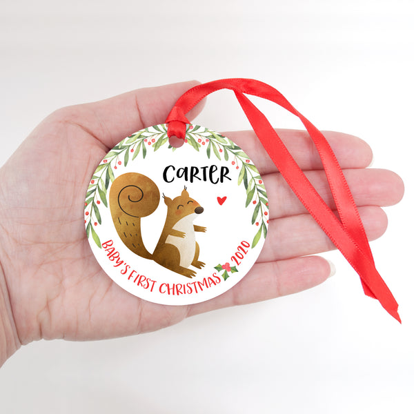 Squirrel Woodland Animal Personalized Baby's First Christmas Ornament for Boy or Girl - Round Aluminum - In hand