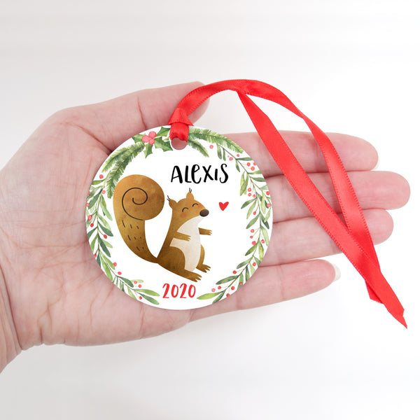 Squirrel Woodland Animal Personalized Kids Name Christmas Ornament for Boy or Girl - Round Aluminum - In hand