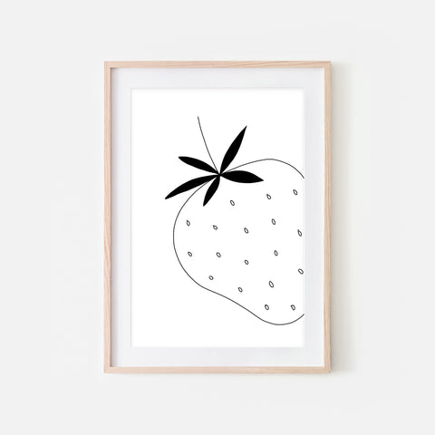 Strawberry No 1 Fruit Wall Art - Black and White Line Drawing - Print, Poster or Printable Download