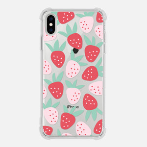 Strawberry Fruit Pattern Summer Fun Cute Pink Red Clear iPhone Case for XR XS Max X 8 7 6 6s Plus - By Happy Cat Prints