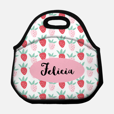 Strawberry Fruit Pattern Cute Red Pink Personalized Name Lunch Tote Bag Neoprene Insulated Lunch Box for School Work Office Kids Adults Women Men Girls Boys - By Happy Cat Prints
