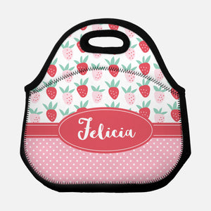 Strawberry Fruit Pattern Polka Dots Pink Cute Personalized Name Lunch Tote Bag Neoprene Insulated Lunch Box for School Work Office Kids Adults Women Men Girls Boys - By Happy Cat Prints