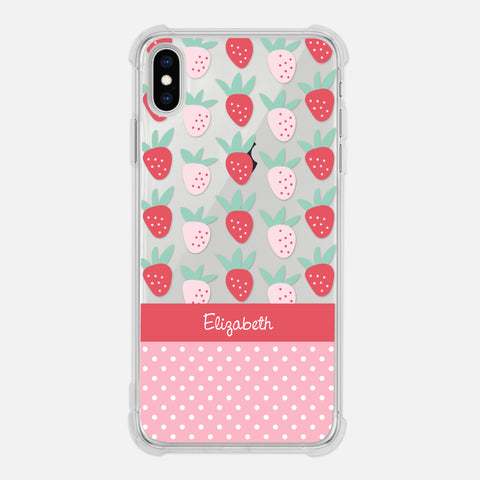 Strawberry Fruit Polka Dots Pattern Cute Pink Girly Summer Personalized Name iPhone Case Clear 6 6s 7 Plus 8 Plus X XR XS Max - By Happy Cat Prints