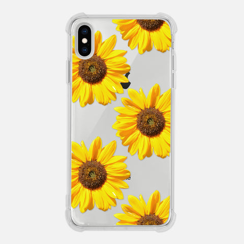 Sunflower Floral Photography Flower Sunny Pattern Yellow Clear iPhone Case for XR XS Max X 8 7 6 6s Plus - By Happy Cat Prints