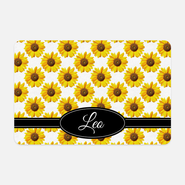 Sunflowers Floral Photography Flower Pattern Yellow Black White Personalized Pet Mat for Cat Dog Feeding Mat for Food Bowls Pet Supply Accessory - By Happy Cat Prints