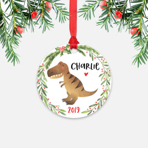 T-Rex Dinosaur Personalized Kids Name Christmas Ornament for Boy or Girl - Round Aluminum - Red ribbon