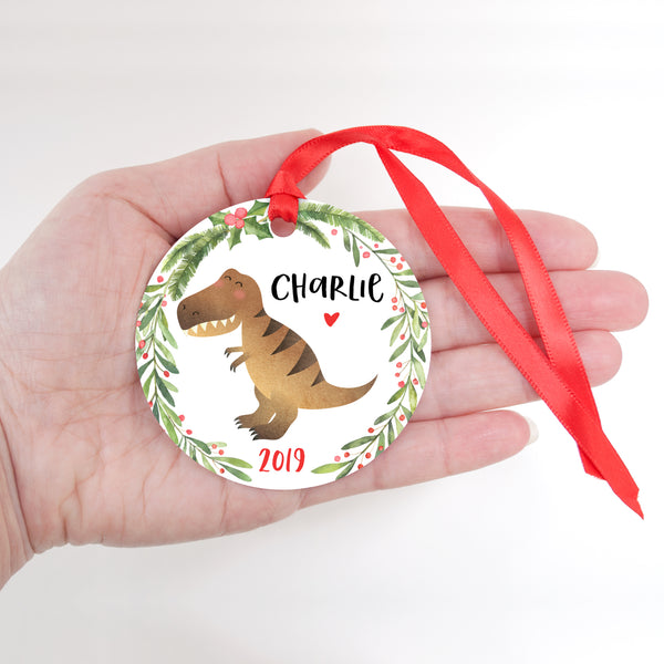 T-Rex Dinosaur Personalized Kids Name Christmas Ornament for Boy or Girl - Round Aluminum - In hand
