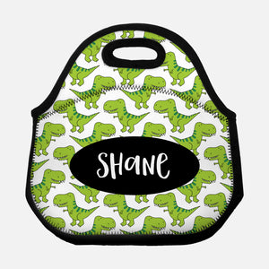7f33eccea140 T-Rex Dinosaur Personalized Lunch Tote Bag - Green - By Happy Cat ...