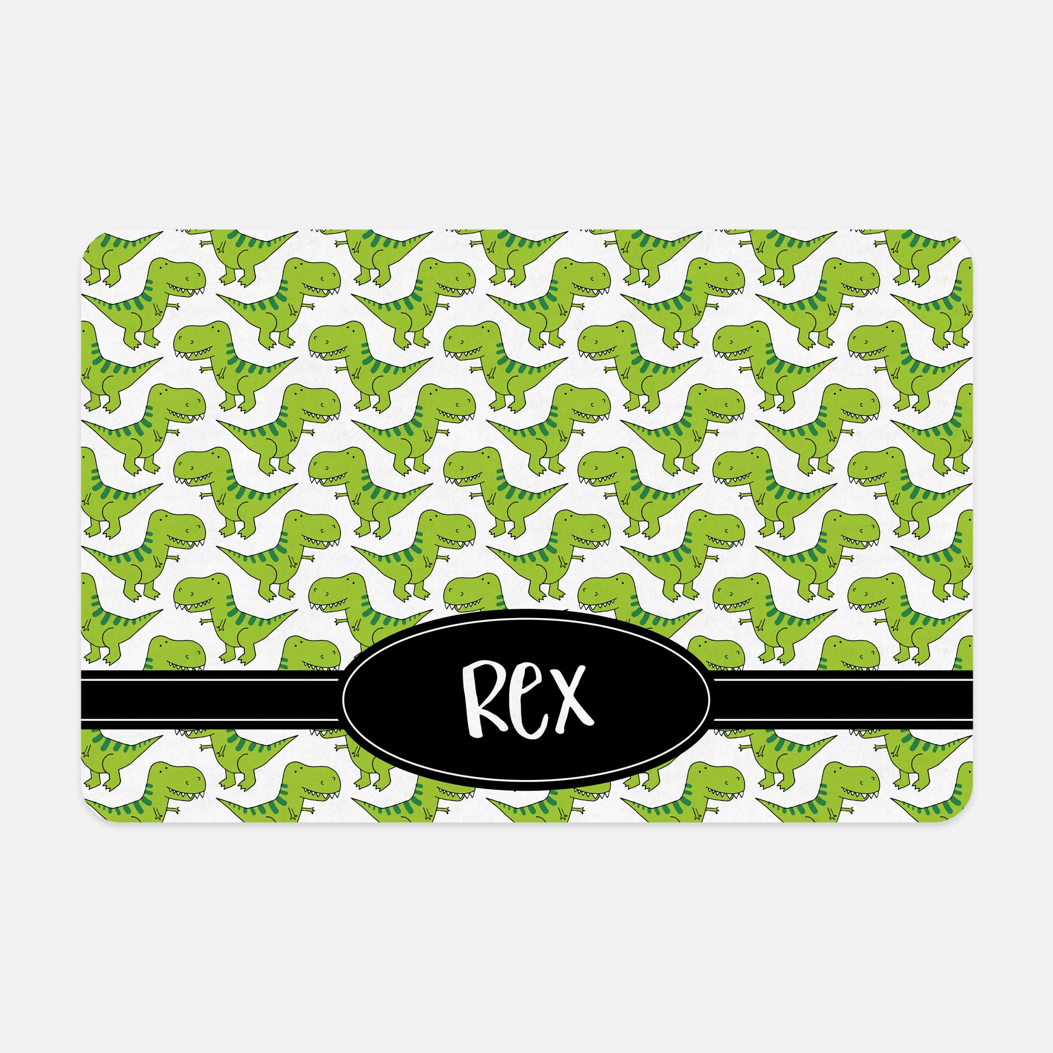 T-Rex Dinosaur Tyrannosaurus Rex Pattern Bright Green Black White Personalized Pet Mat for Cat Dog Feeding Mat for Food Bowls Pet Supply Accessory - By Happy Cat Prints