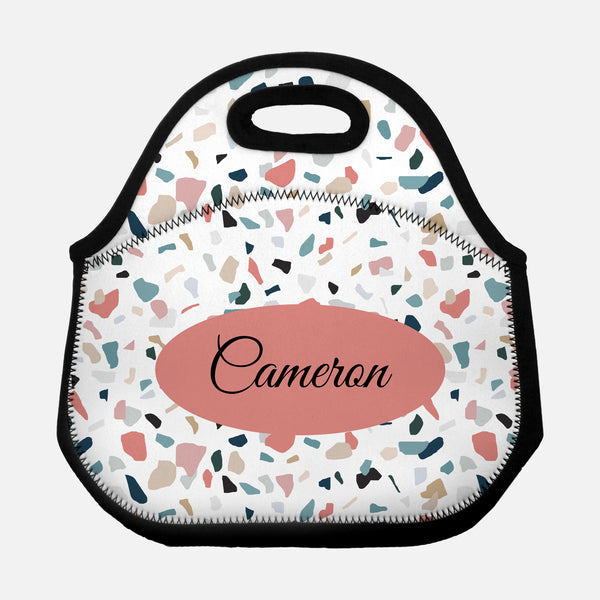 Terrazzo Pattern Abstract Coral Pink Teal Personalized Name Lunch Tote Bag Neoprene Insulated - By Happy Cat Prints