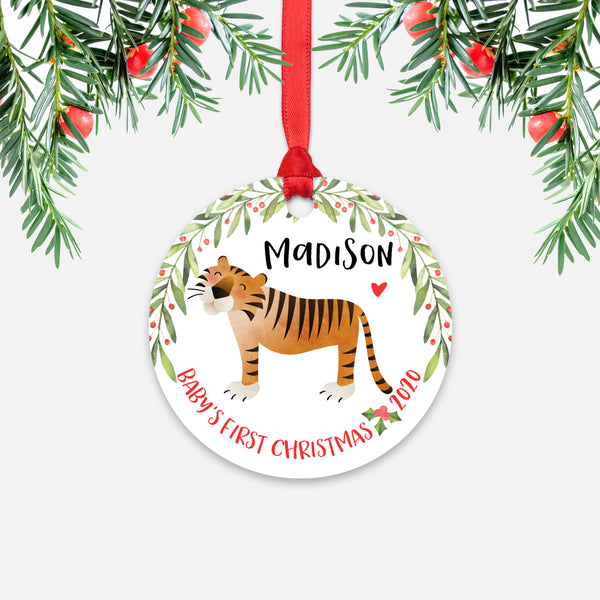 Tiger Jungle Animal Personalized Baby's First Christmas Ornament for Boy or Girl - Round Aluminum - Red ribbon