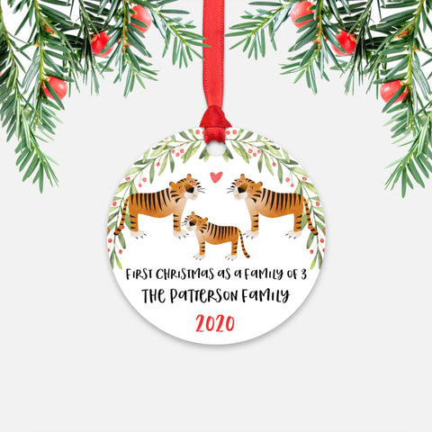 Tiger Animal First Christmas as a Family of 3 Personalized Ornament for New Baby Girl Boy - Round Aluminum - Red ribbon