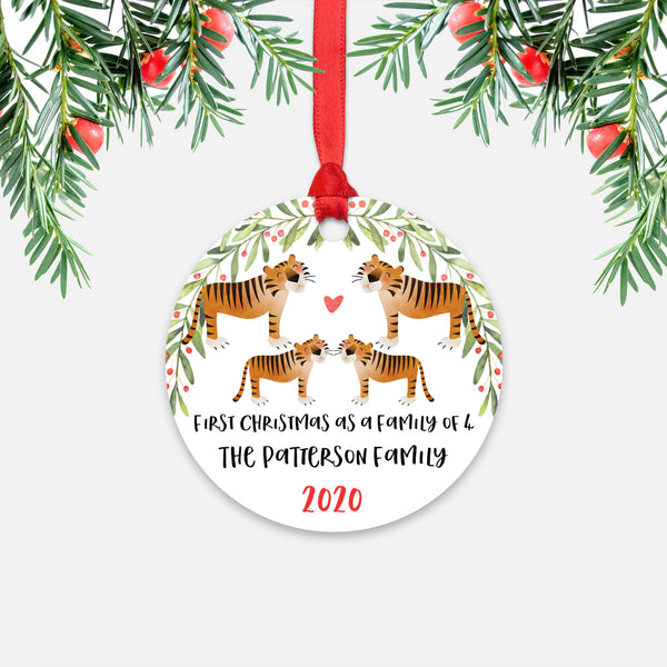 Tiger Animal First Christmas as a Family of 4 Personalized Ornament for New Baby Girl Boy - Round Aluminum - Red ribbon