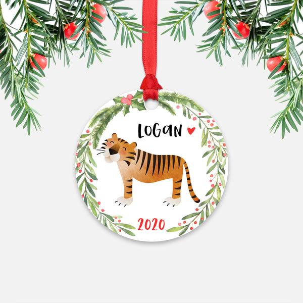 Tiger Jungle Animal Personalized Kids Name Christmas Ornament for Boy or Girl - Round Aluminum - Red ribbon