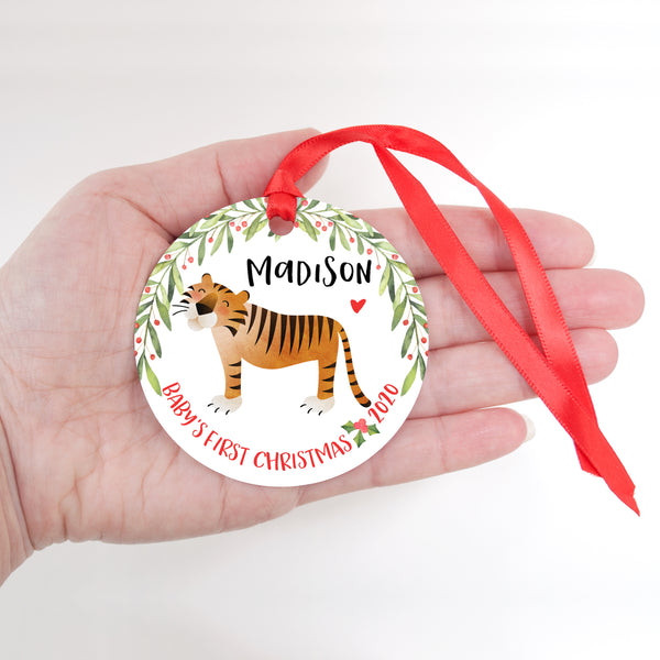 Tiger Jungle Animal Personalized Baby's First Christmas Ornament for Boy or Girl - Round Aluminum - In hand