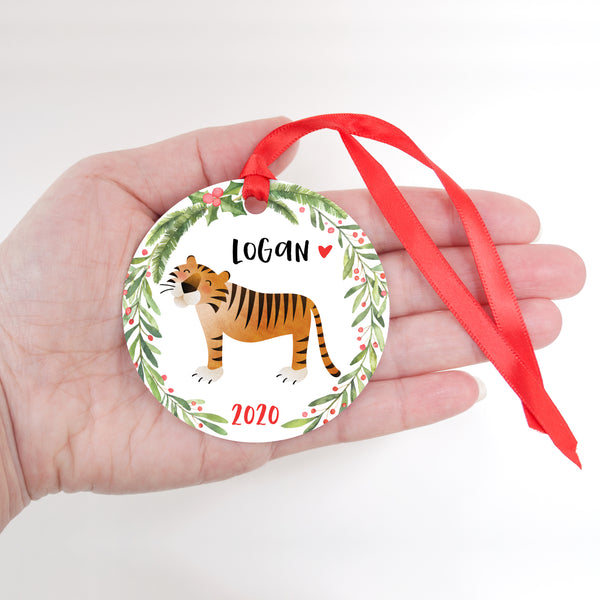 Tiger Jungle Animal Personalized Kids Name Christmas Ornament for Boy or Girl - Round Aluminum - In hand