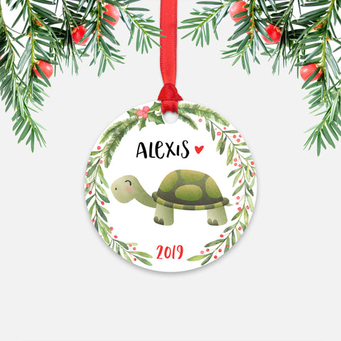 Turtle Tortoise Animal Personalized Kids Name Christmas Ornament for Boy or Girl - Round Aluminum - Red ribbon