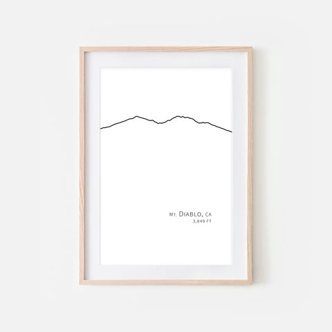 Mt Diablo CA - Mountain Wall Art - Minimalist Line Drawing - Black and White Print, Poster or Printable Download