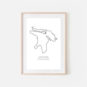 Lake Huron Michigan USA Ontario Canada Wall Art - Minimalist Map - Great Lakes House Decor - Black and White Print, Poster or Printable Download