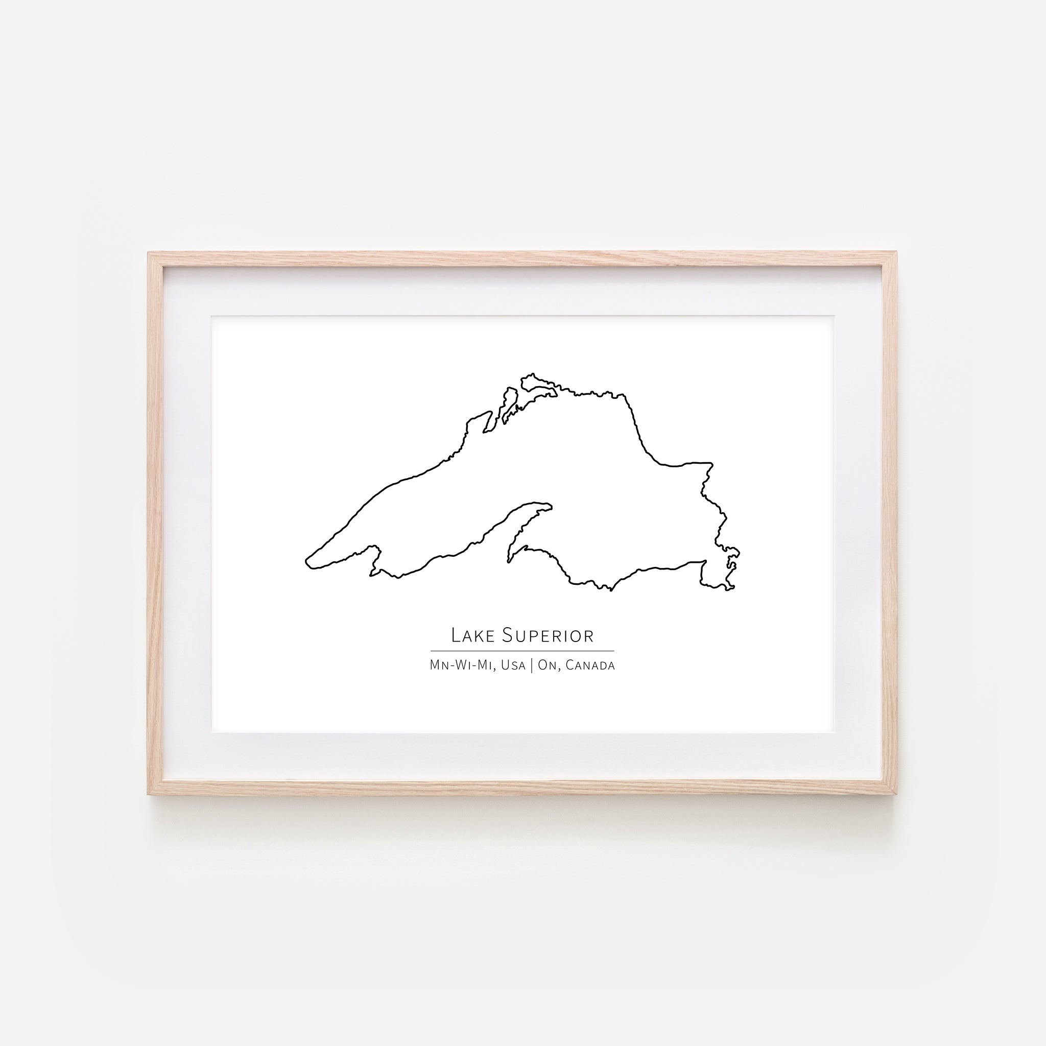 Lake Superior MN WI MI USA Ontario Canada Wall Art - Minimalist Map - Great Lakes House Decor - Black and White Print, Poster or Printable Download