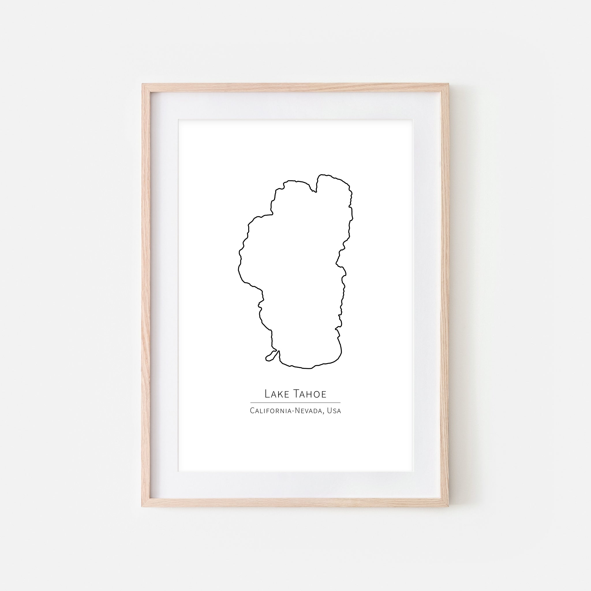 Lake Tahoe California Sierra Nevada Wall Art - Minimalist Map - Lake House Decor - Black and White Print, Poster or Printable Download