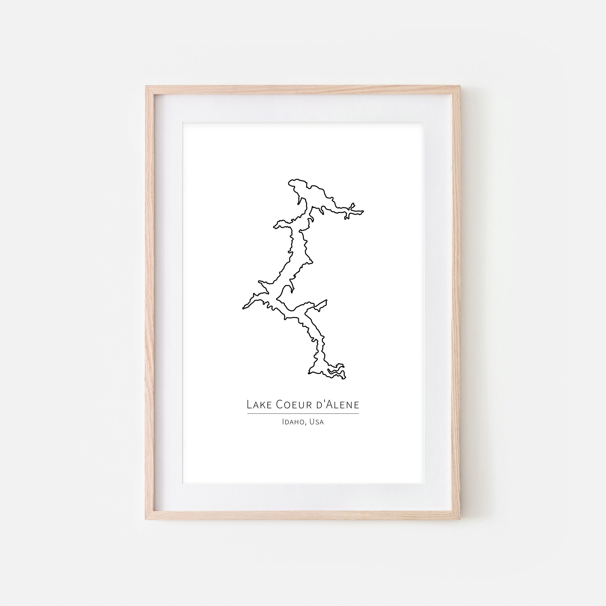 Lake Coeur d'Alene Idaho Wall Art - Minimalist Map - Lake House Decor - Black and White Print, Poster or Printable Download