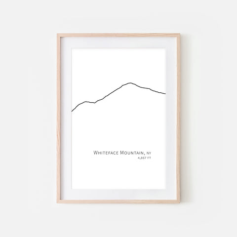 Whiteface Mountain Adirondacks NY Wall Art - Ski Decor - Black and White Minimalist Line Drawing - Digital Downloadable Print