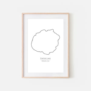 Crater Lake Oregon Wall Art - Minimalist Map - Lake House Decor - Black and White Print, Poster or Printable Download