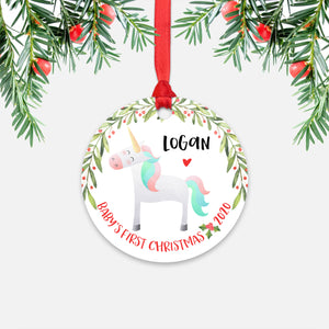 Unicorn Animal Personalized Baby's First Christmas Ornament for Boy or Girl - Round Aluminum - Red ribbon