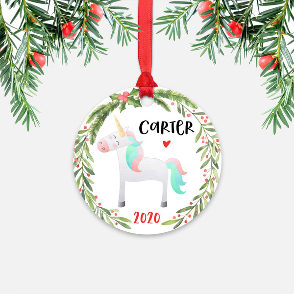 Unicorn Animal Personalized Kids Name Christmas Ornament for Boy or Girl - Round Aluminum - Red ribbon