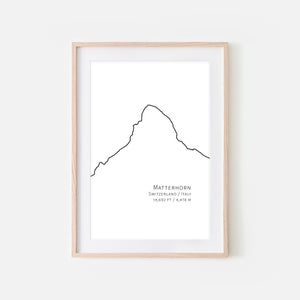 Matterhorn Switzerland Italy Mountain Wall Art - Black and White Line Drawing - Print, Poster or Printable Download