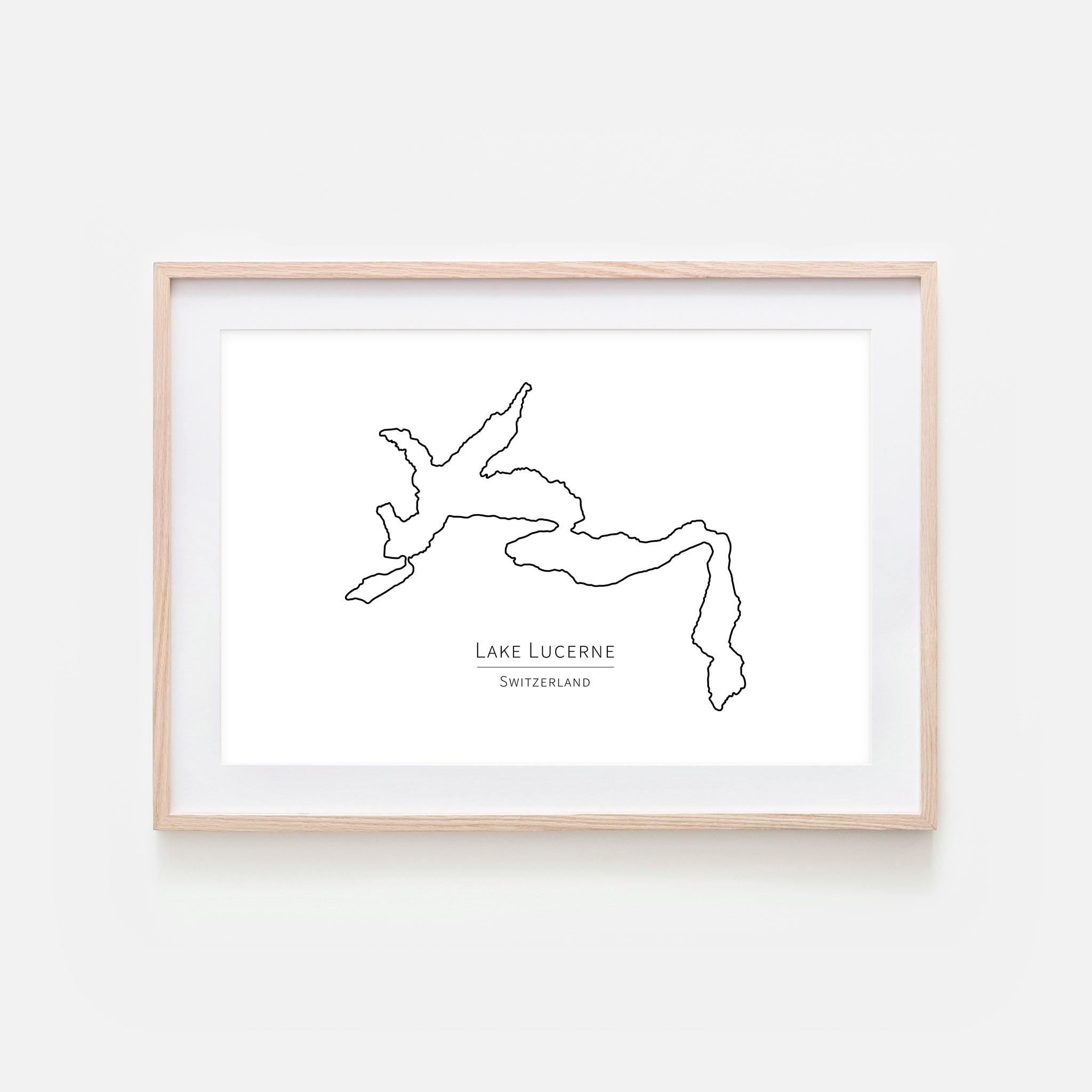 Lake Lucerne Switzerland Europe Wall Art - Minimalist Map - Lake House Decor - Black and White Print, Poster or Printable Download