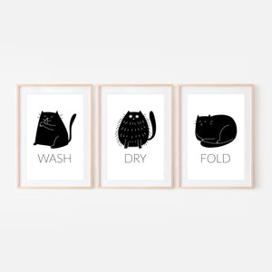 Set of 3 Black Cat Wall Art - Wash Dry Fold Signs - Funny Laundry Room Decor - Print, Poster or Printable Download