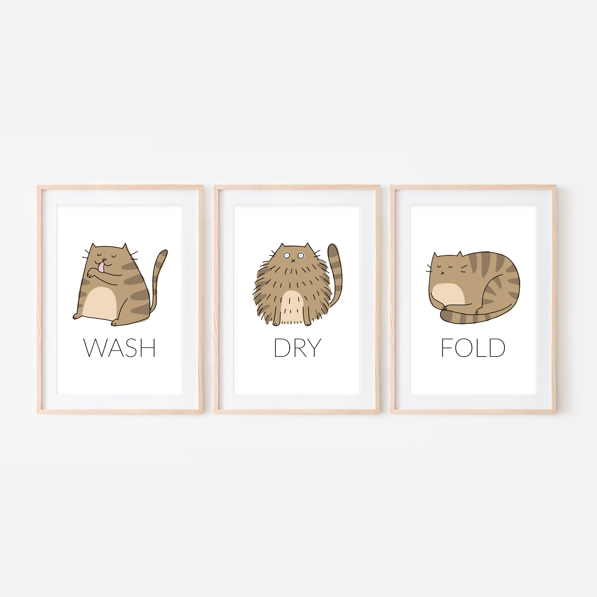 Set of 3 Brown Tabby Cat Wall Art - Wash Dry Fold Signs - Funny Laundry Room Decor - Print, Poster or Printable Download