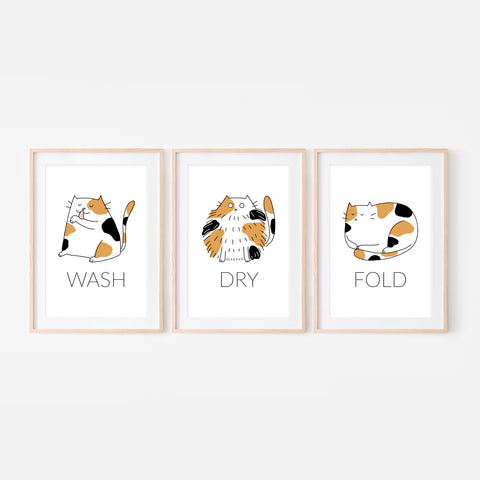 Set of 3 Calico Cat Wall Art - Wash Dry Fold Signs - Funny Laundry Room Decor - Print, Poster or Printable Download