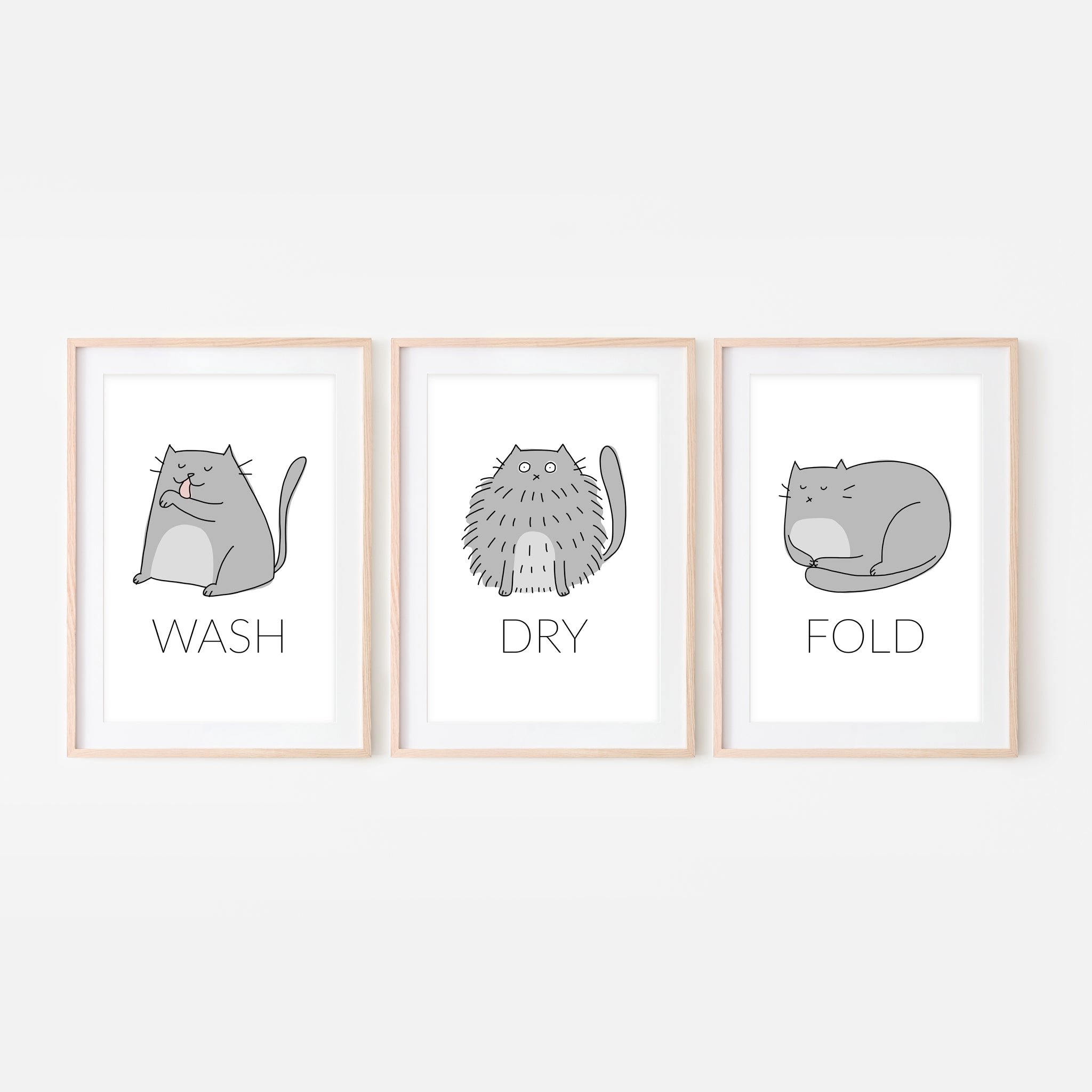 Set of 3 Gray Cat Wall Art - Wash Dry Fold Signs - Funny Laundry Room Decor - Print, Poster or Printable Download