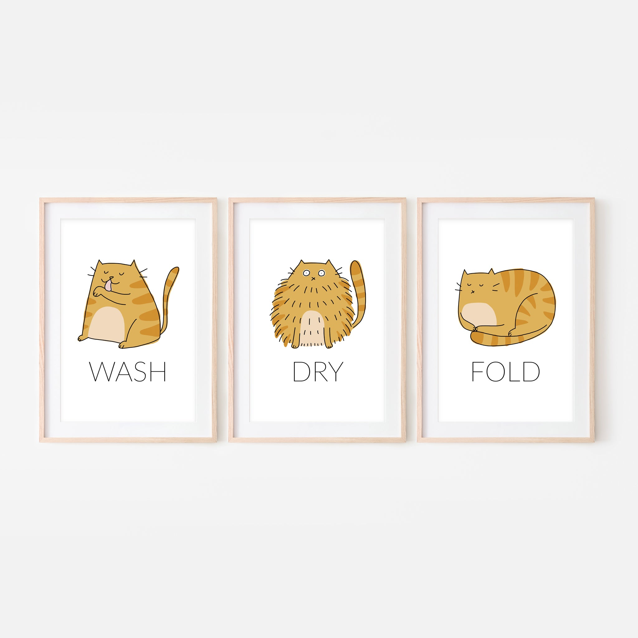 Set of 3 Orange Tabby Cat Wall Art - Wash Dry Fold Signs - Funny Laundry Room Decor - Print, Poster or Printable Download