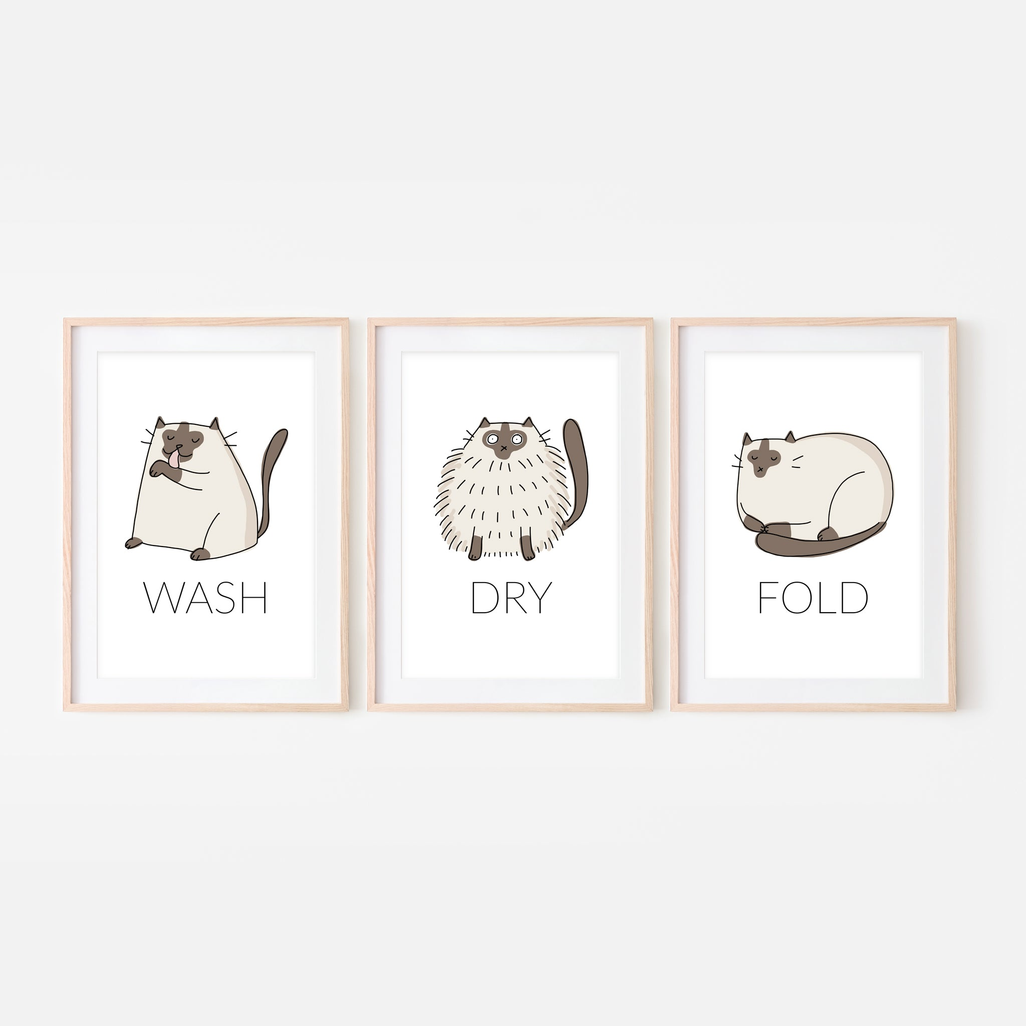 Set of 3 Siamese Cat Wall Art - Wash Dry Fold Signs - Funny Laundry Room Decor - Print, Poster or Printable Download