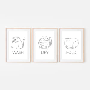 Set of 3 White Cat Wall Art - Wash Dry Fold Signs - Funny Laundry Room Decor - Print, Poster or Printable Download